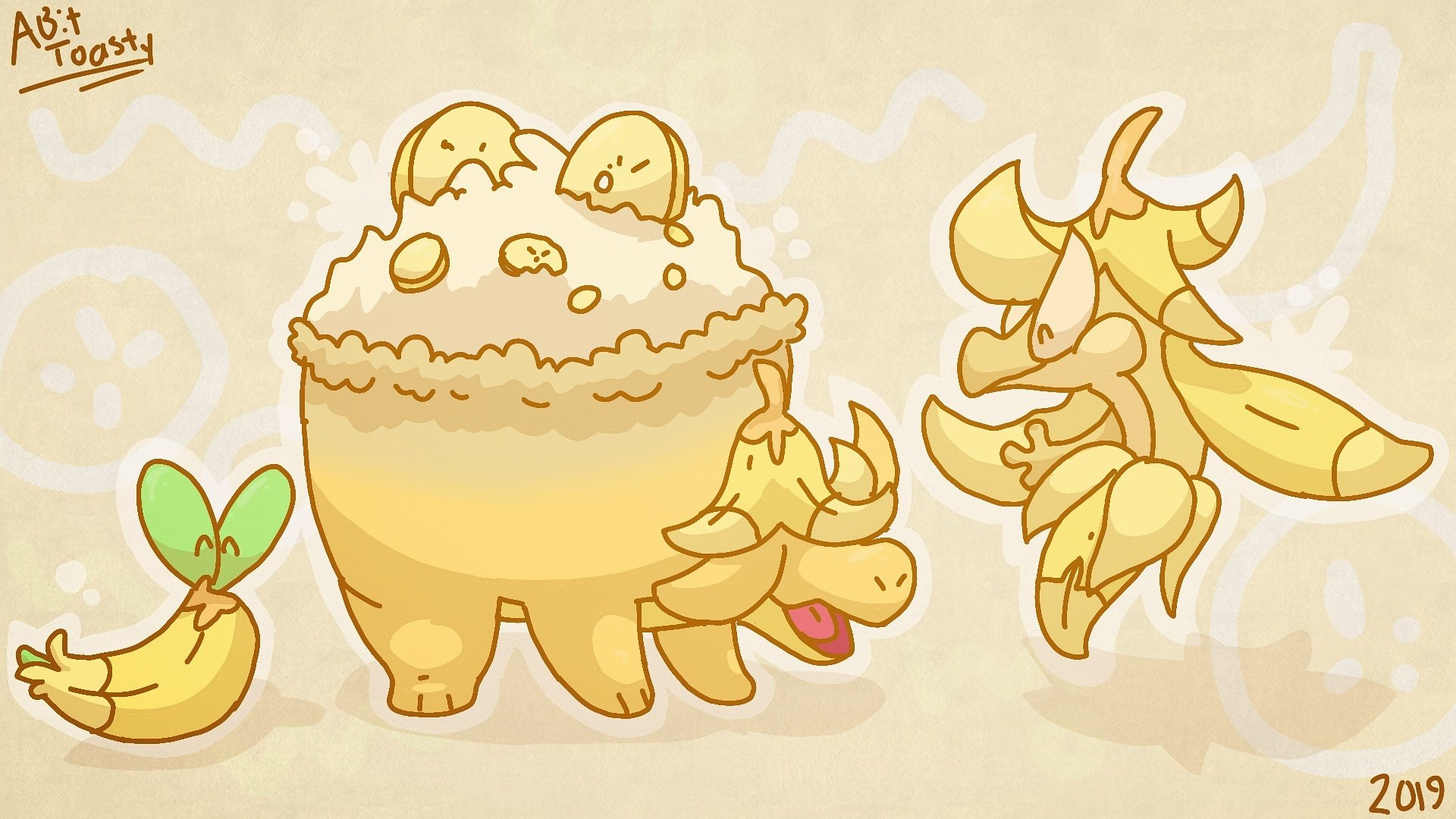 Applin Dragons  Bananas by ABitToasty 1920x1080