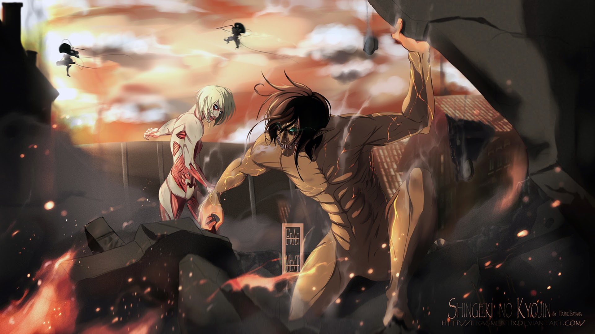 Attack On Titan Wallpaper 1080p Eren Rogue titan vs female titan 1920x1080