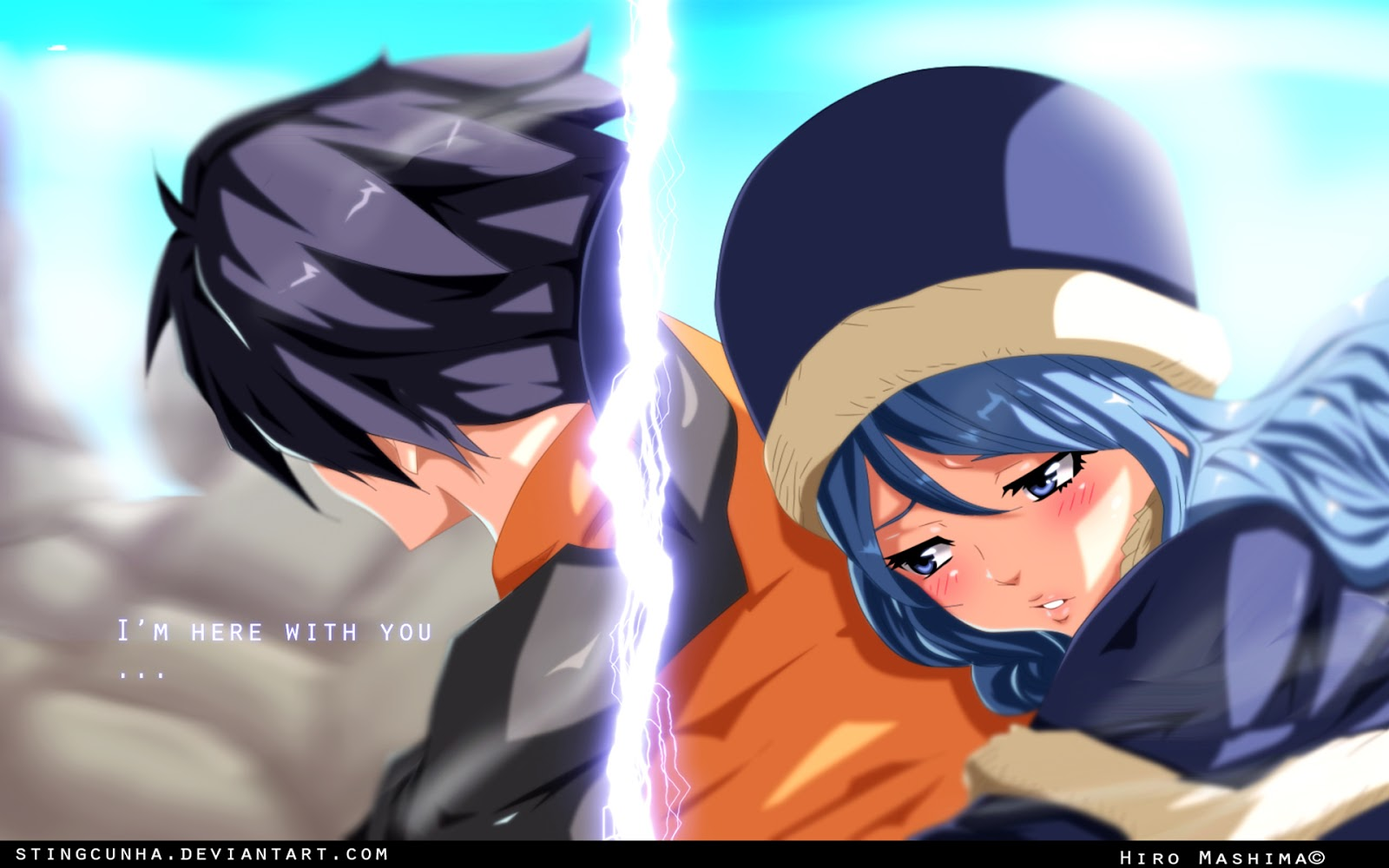 gray fullbuster and juvia lockser fairy tail anime hd wallpaper 1600x1000