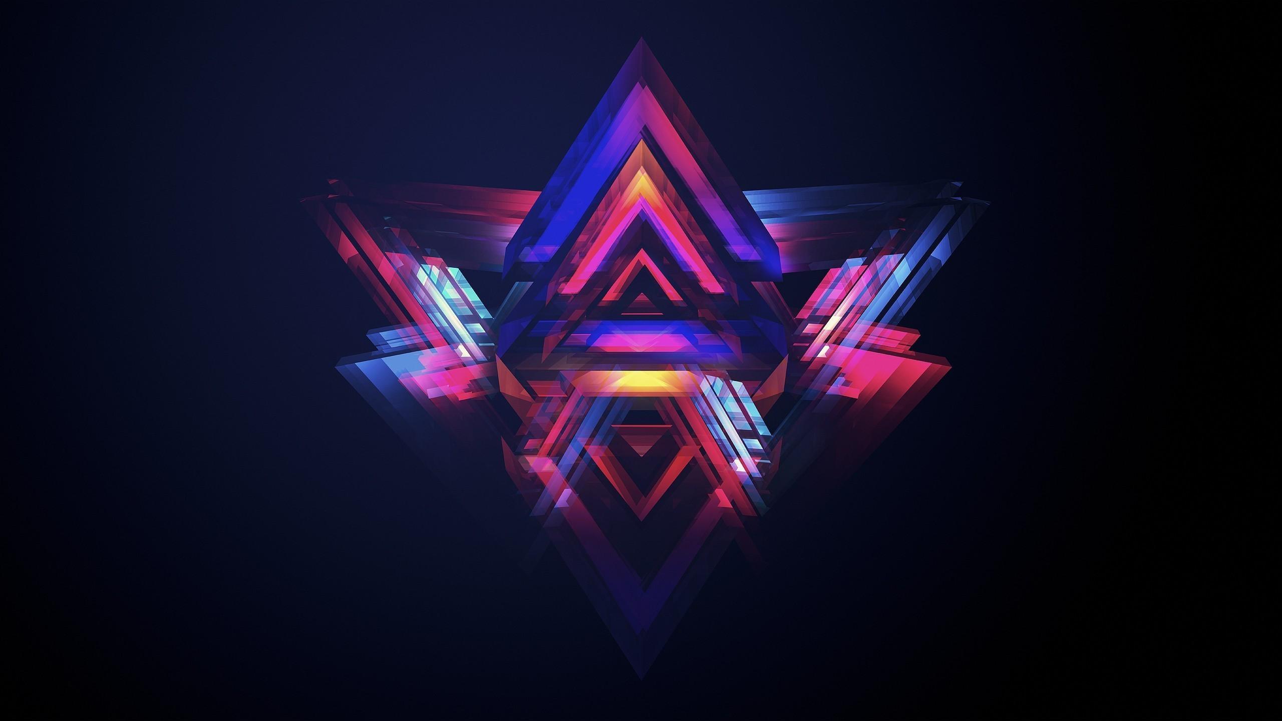 Neon pyramids Wallpaper 3371 2560x1440