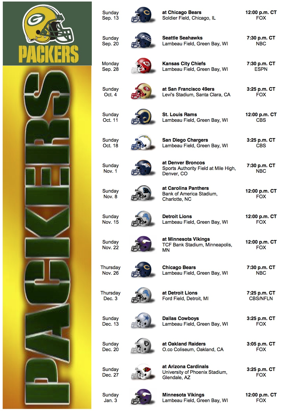 2013 2014 Green Bay Packer Printable Schedule Html Autos