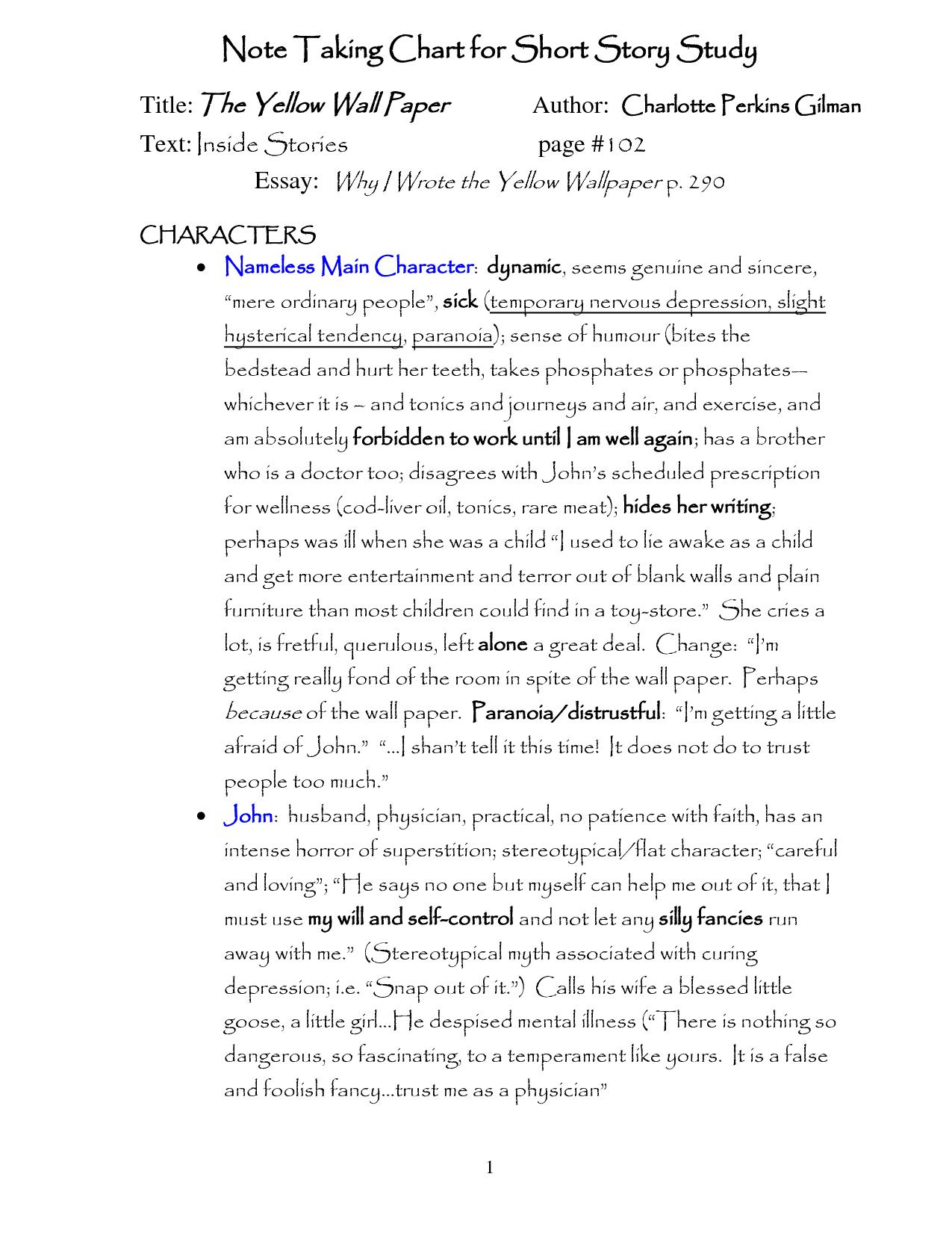 The Yellow Wall Paper Essays   OmahDesignsNET 1275x1650