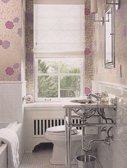 Bathroom Wallpaper Subway Tile Interiors Bathrooms Powder Roo 437x576
