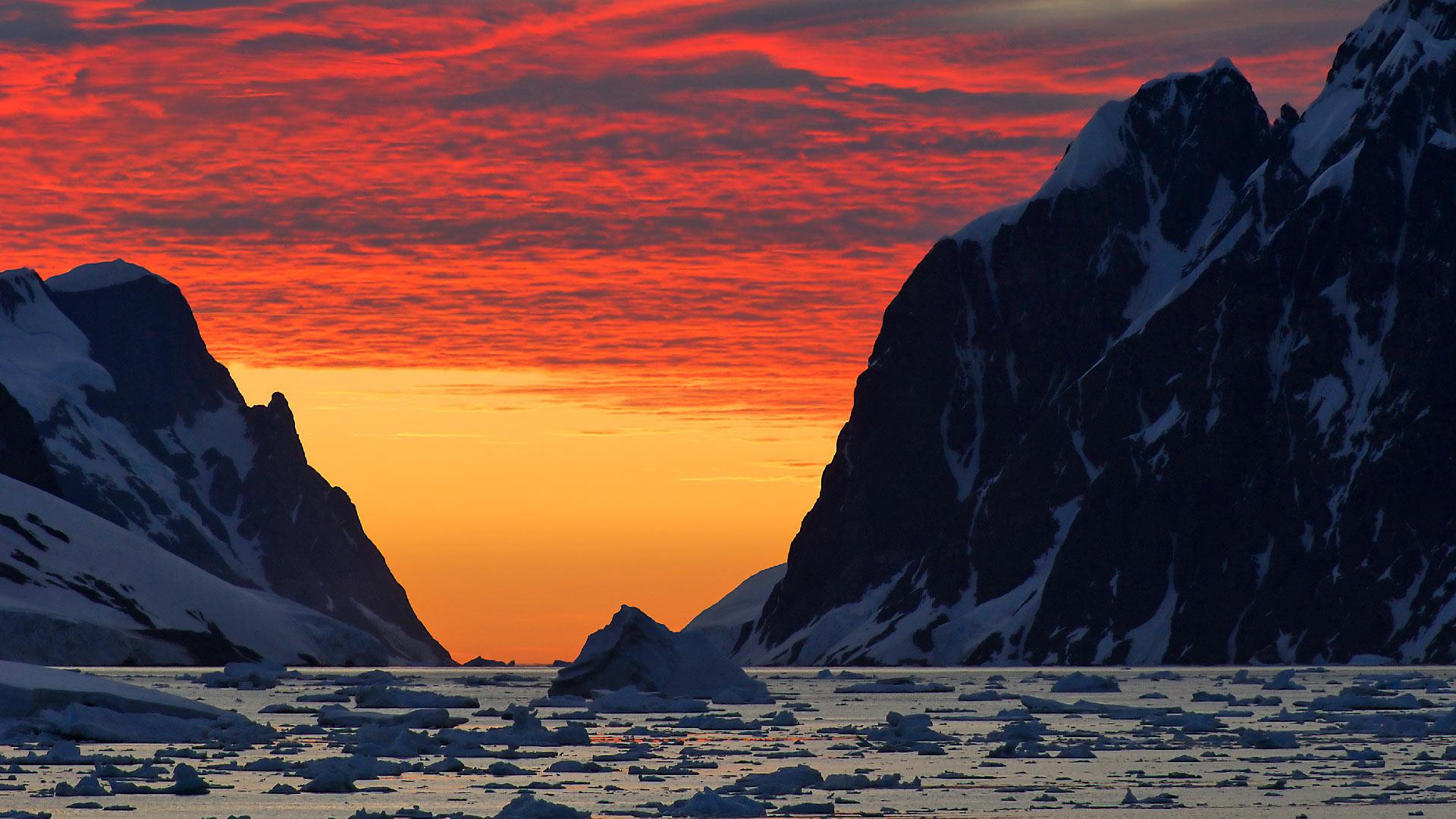 Red Antarctica Bing Wallpaper Download 1920x1080