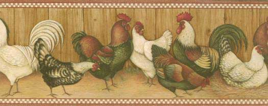 Chickens and Roosters Wallpaper Border 525x208
