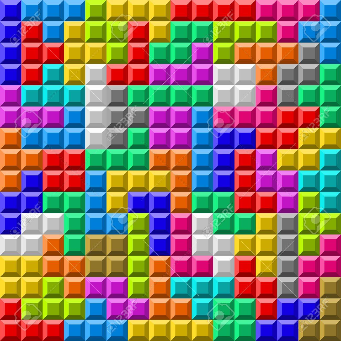 Illustration Of Colorful Tetris Board Background Royalty 1300x1300