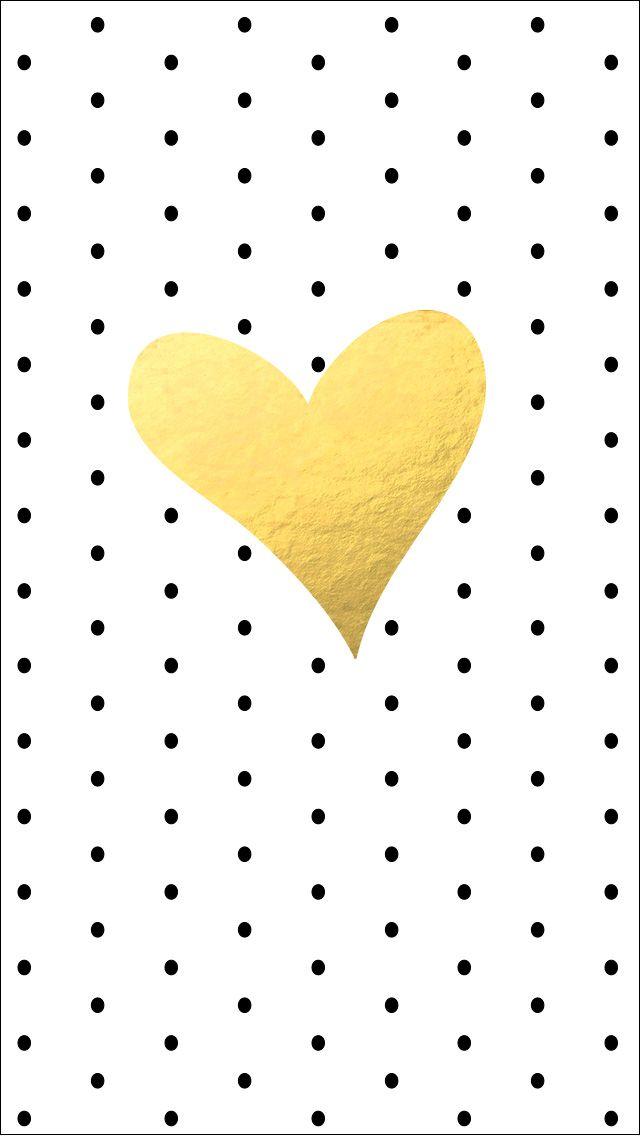 Black polka dots spots gold heart iphone wallpaper phone background 640x1136