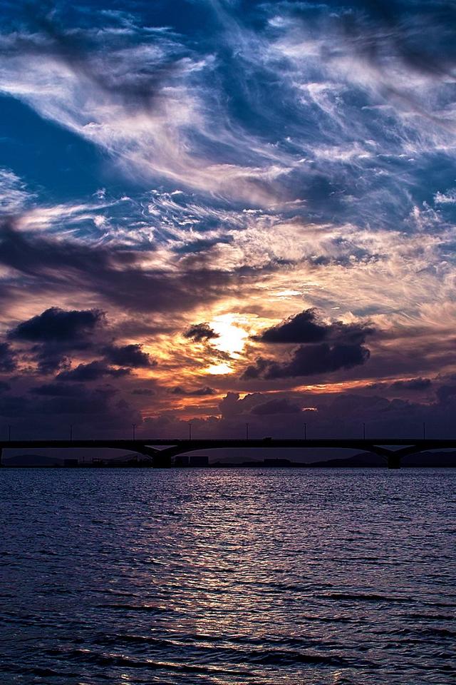 artistic sunrise bridges wallpaper iphone wallpapers55com   Best 640x960
