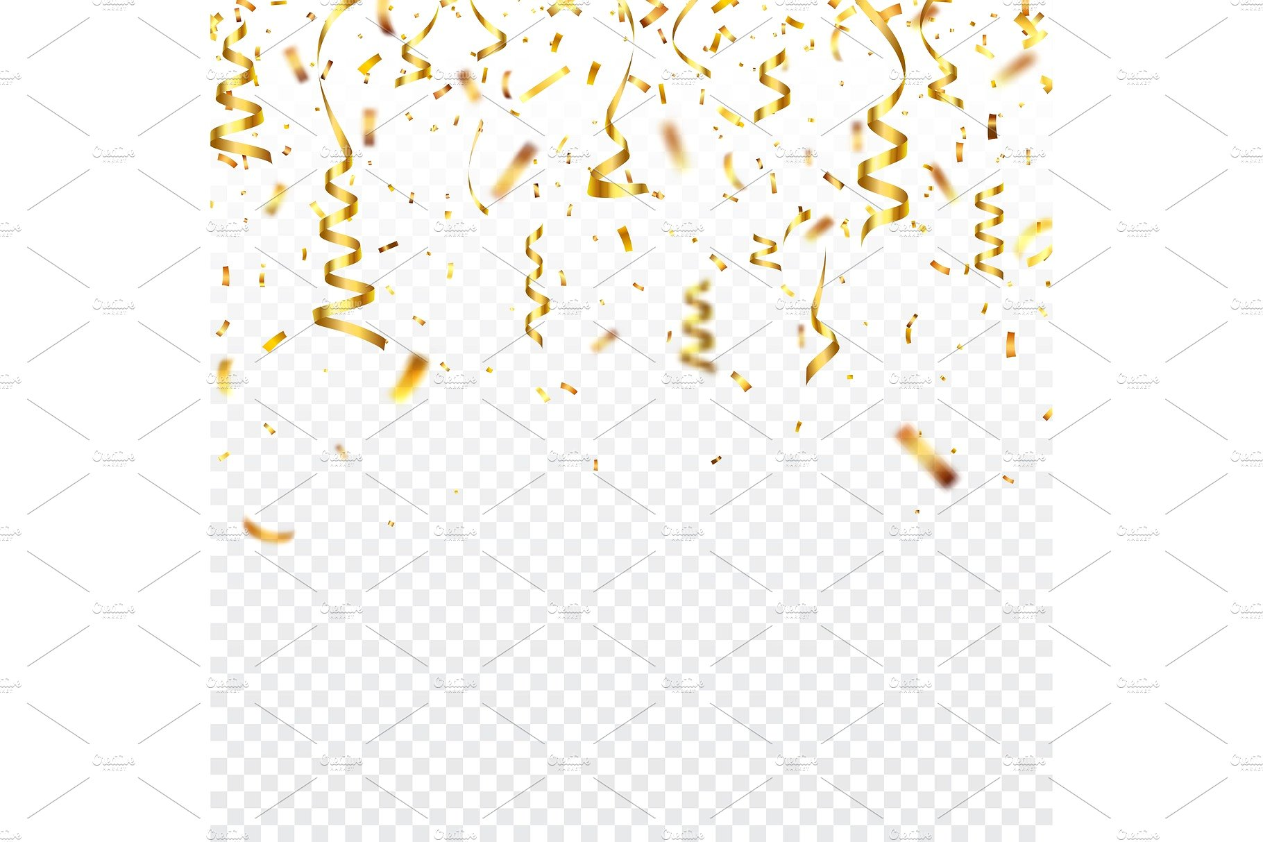 Christmas golden confetti with ribbon Falling shiny 1820x1213
