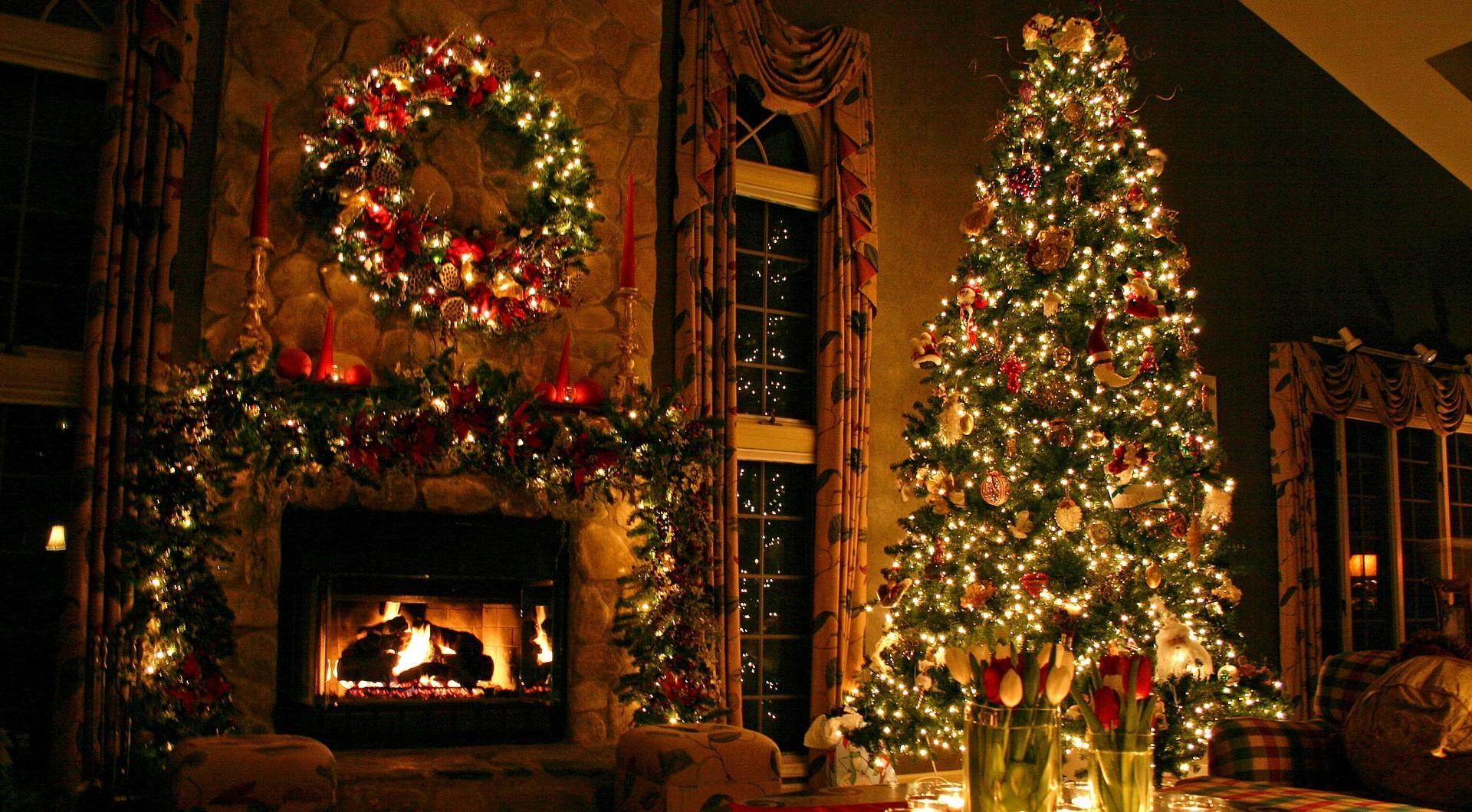 christmas tree ornaments fireplace Wallpaper HD Holidays 4K 1920x1060