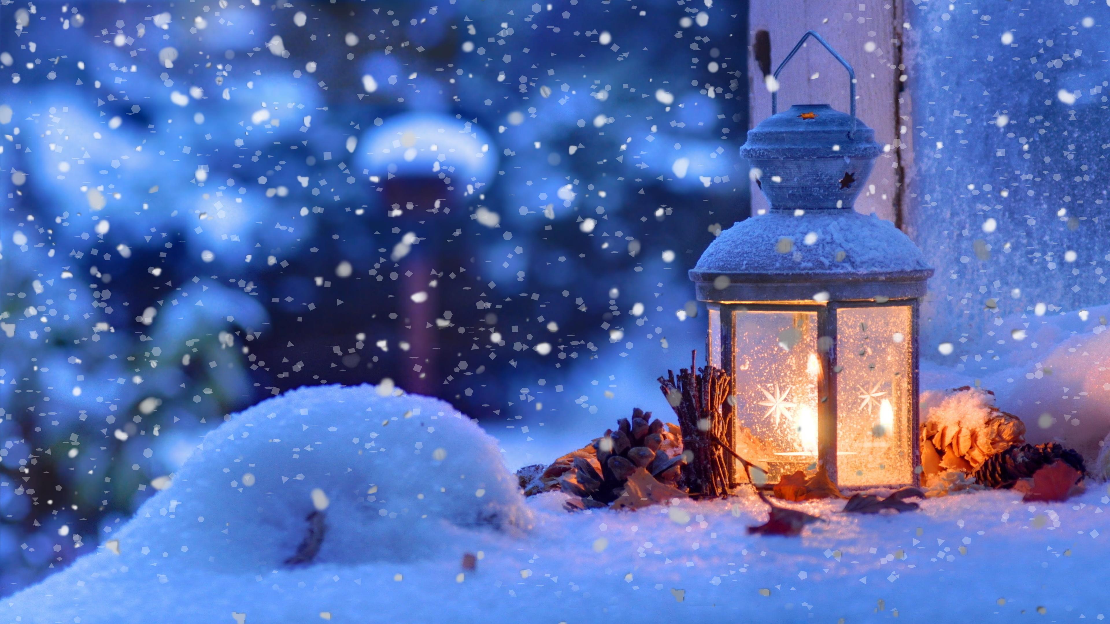 Christmas Snow Lantern 4K Ultra HD Desktop Wallpaper 3840x2160