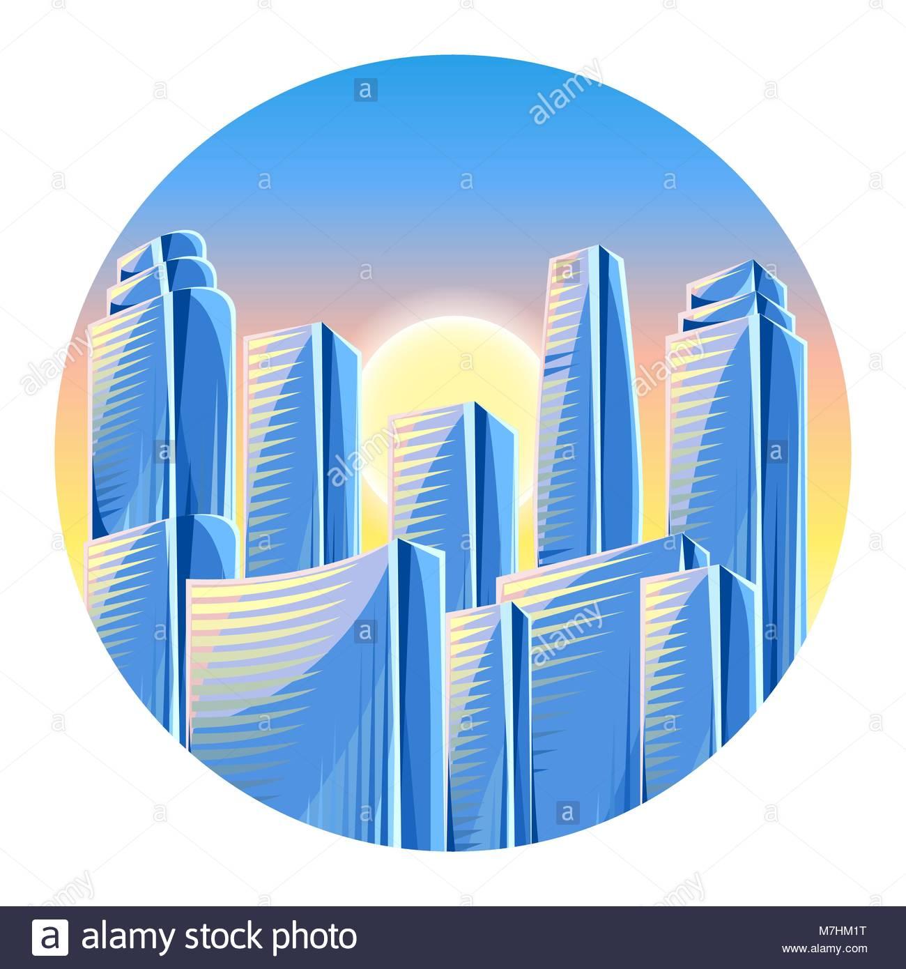 City skyscrapers background in blue colors Cityscape conceptual 1300x1390