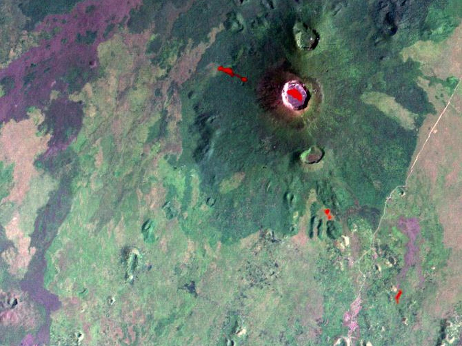 Space Images Nyiragongo Volcano Congo Map View with Lava 1600x1200