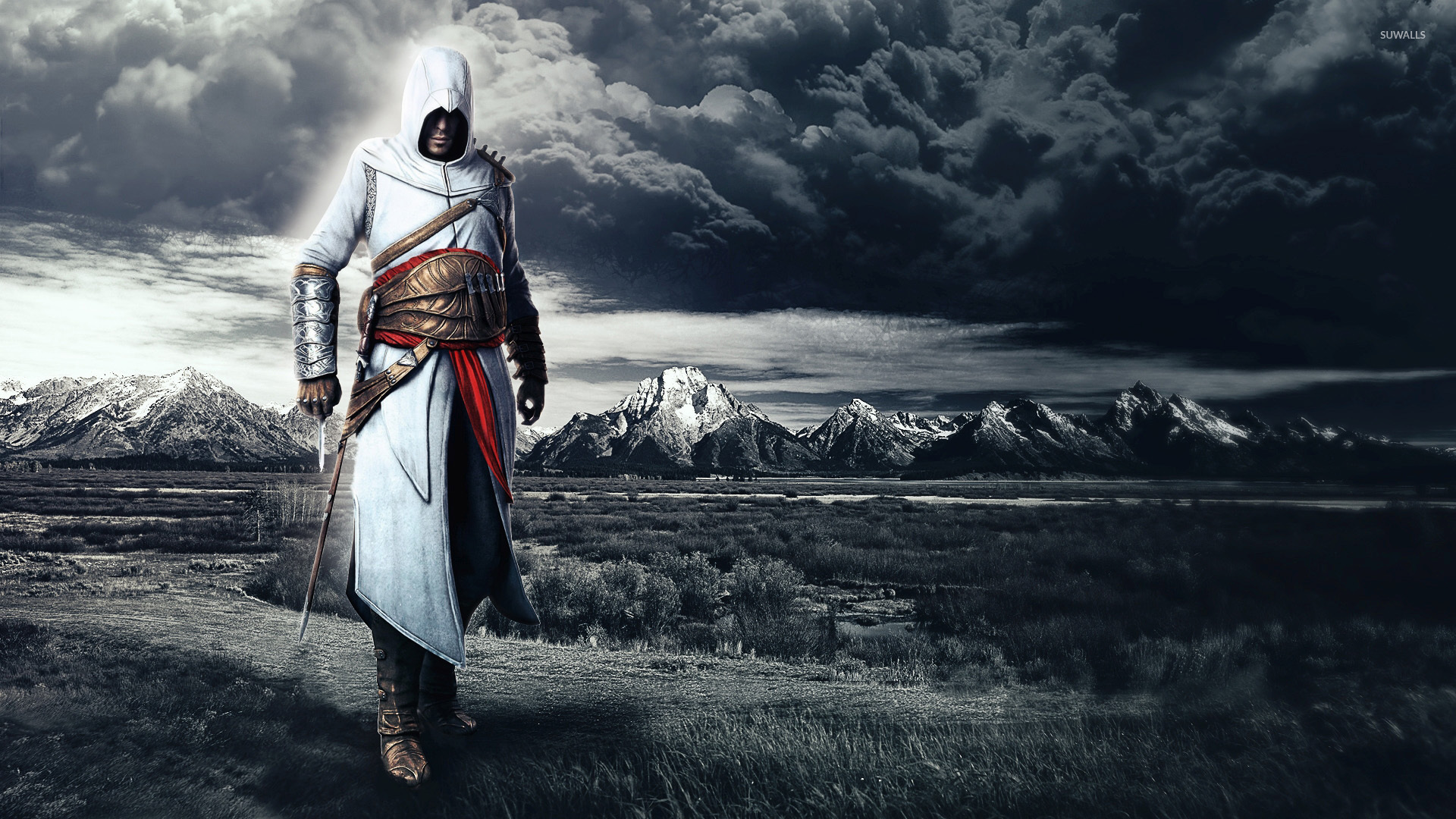 Storm clouds behind Altair Ibn LaAhad   Assassins Creed 1920x1080