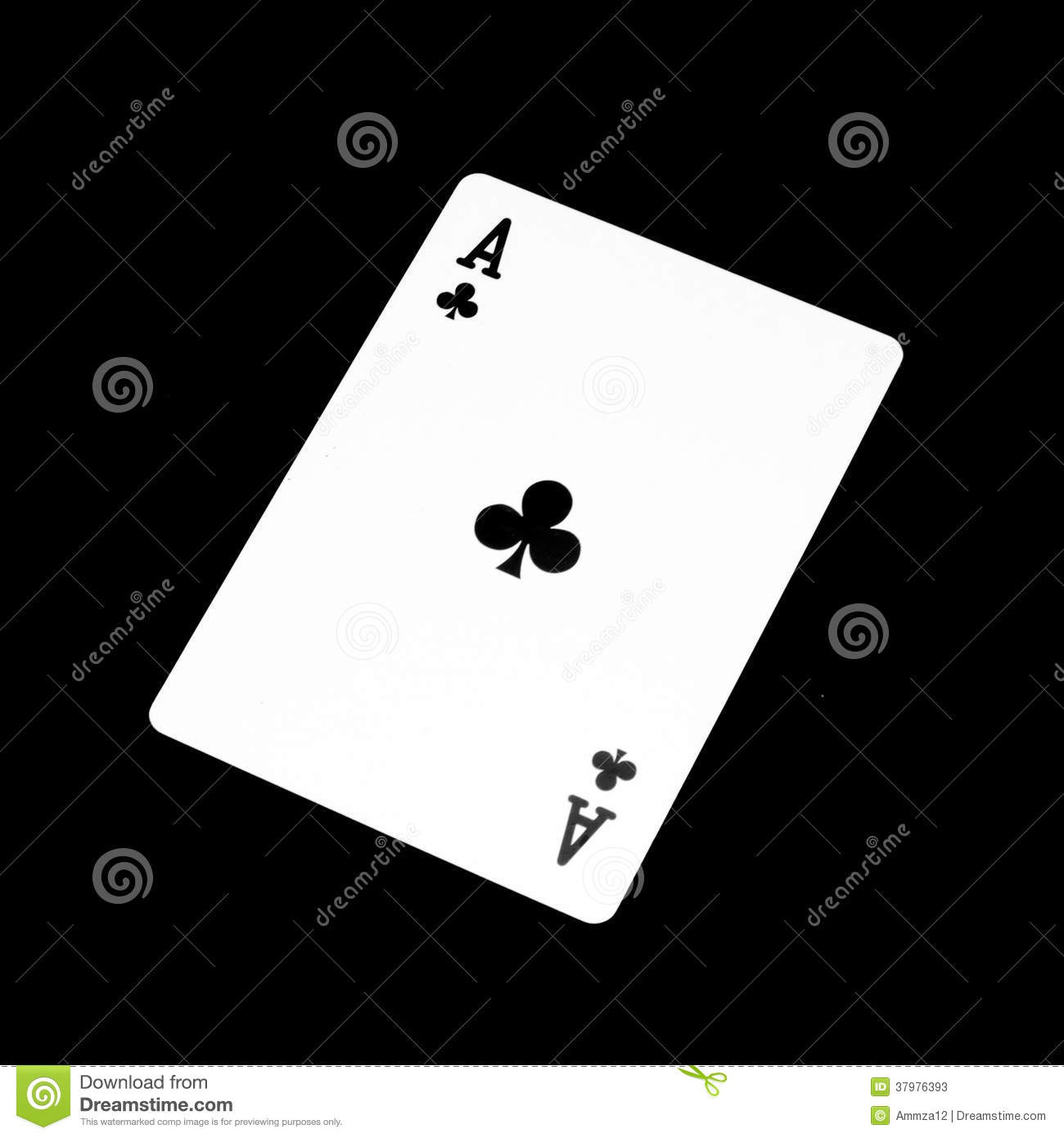 Ace clover card isolated on black background 1300x1390