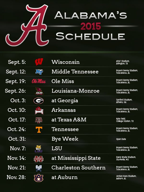 2015 Alabama & Auburn football schedules released - Yellowhammer News