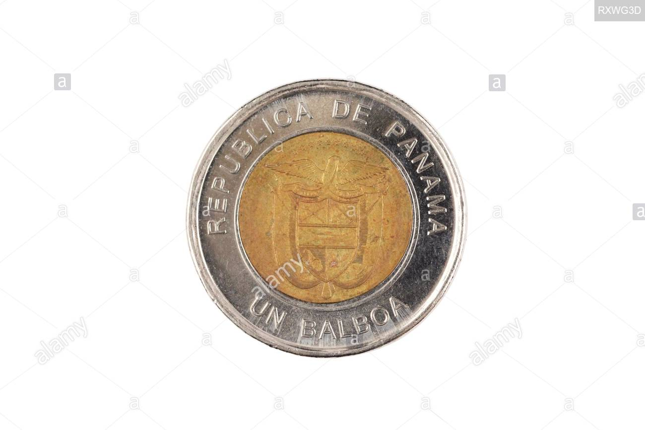 A close up image of a Panamanian bimettalic one Balboa coin 1300x867