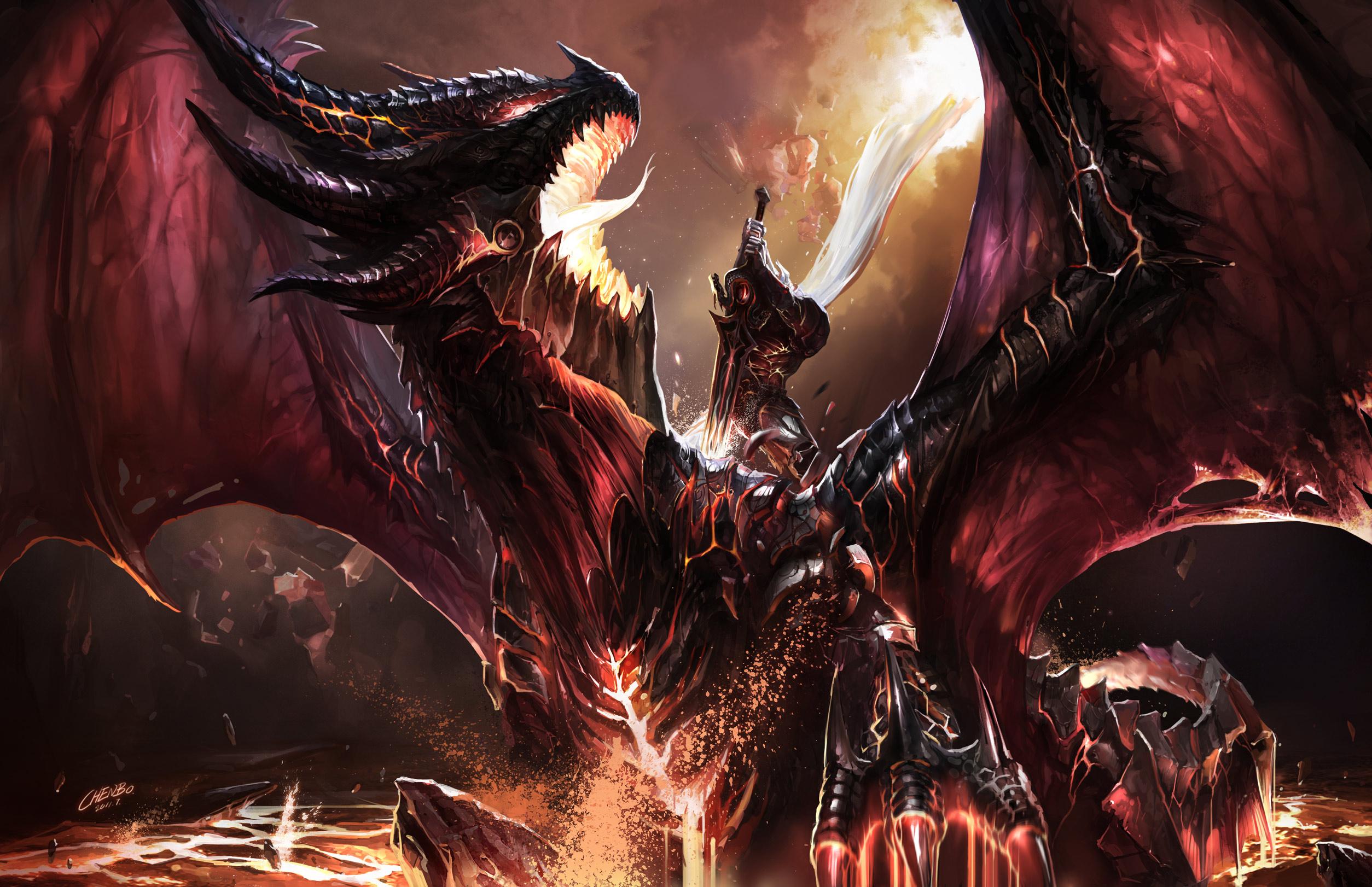 Dragon Warrior Sword World of Warcraft WOW fantasy wallpaper 2508x1622