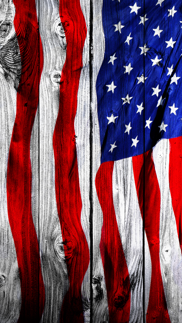 iPhone 5 Wallpaper Wood us flag 640x1136