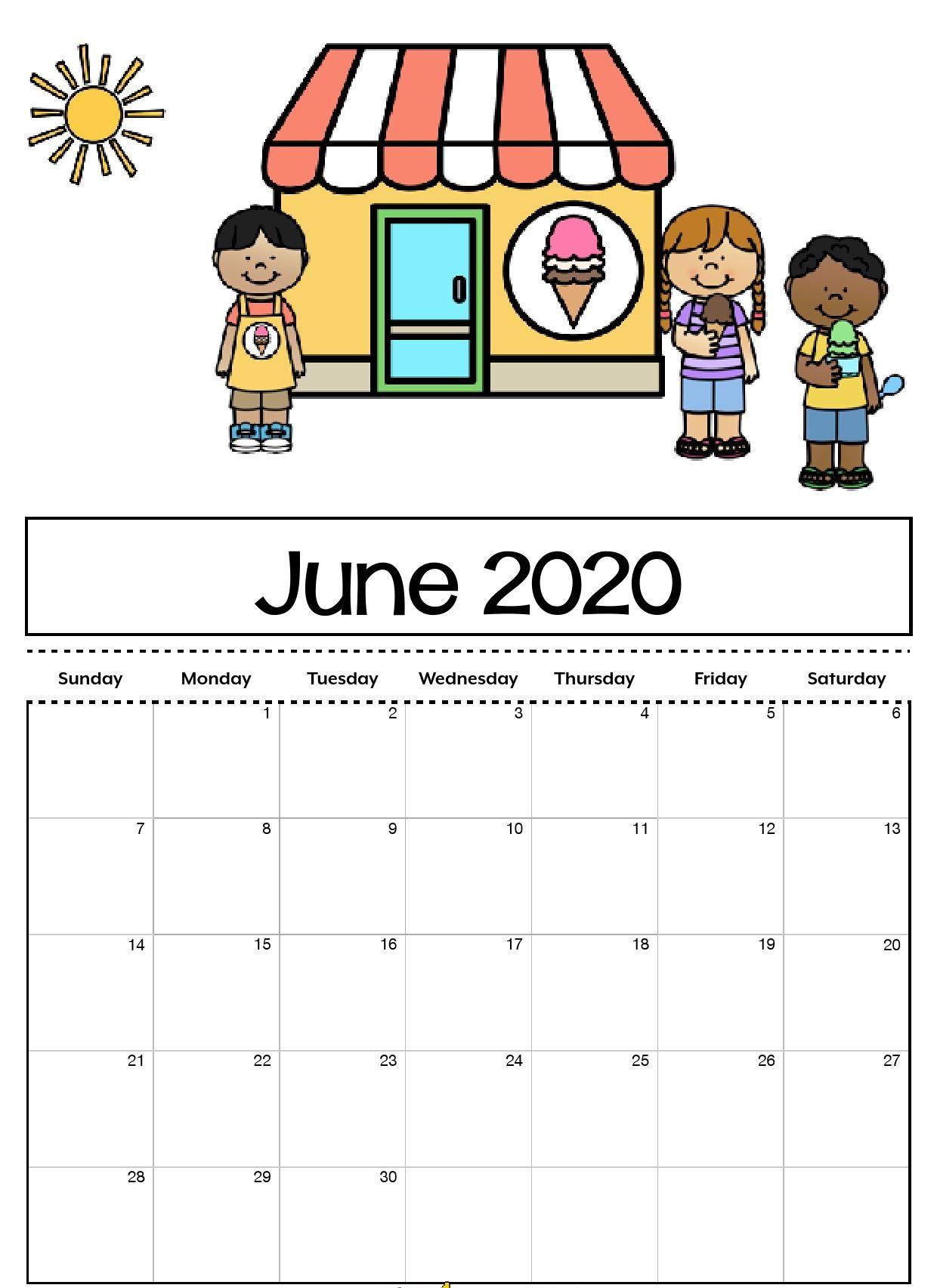 Cute June 2020 Calendar Printable for Kids June 2019 Calendar 1240x1705