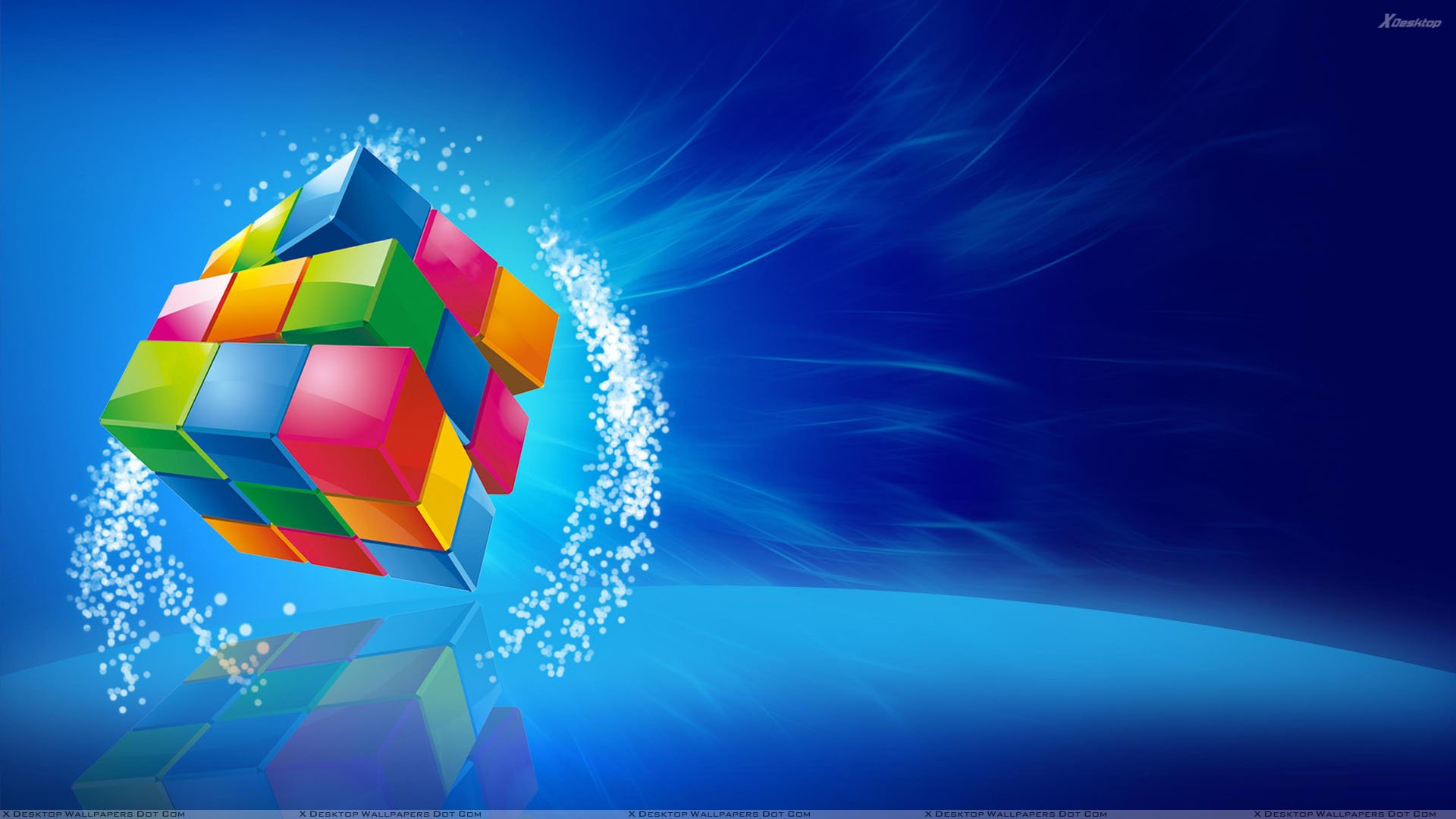 Color Cube On Blue Background Wallpaper 1920x1080
