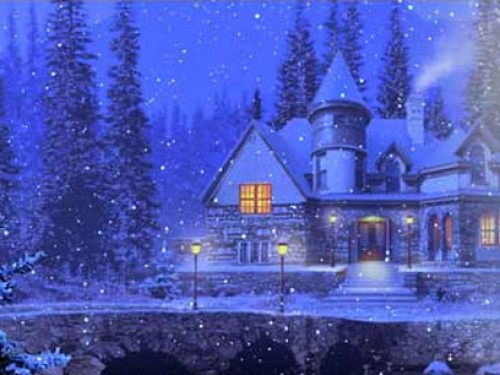 Download 3D Snowy Cottage Wallpaper and Backgrounds 500x375