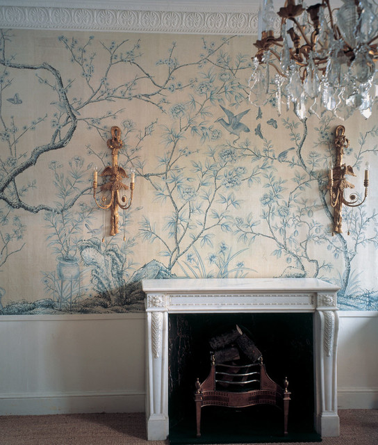 Chinoiserie Hand Painted Wallpaper   Traditional   Living Room   other 544x640