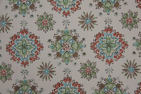 1940s Vintage Wallpaper aqua green brown and orange geometric on Etsy 570x380