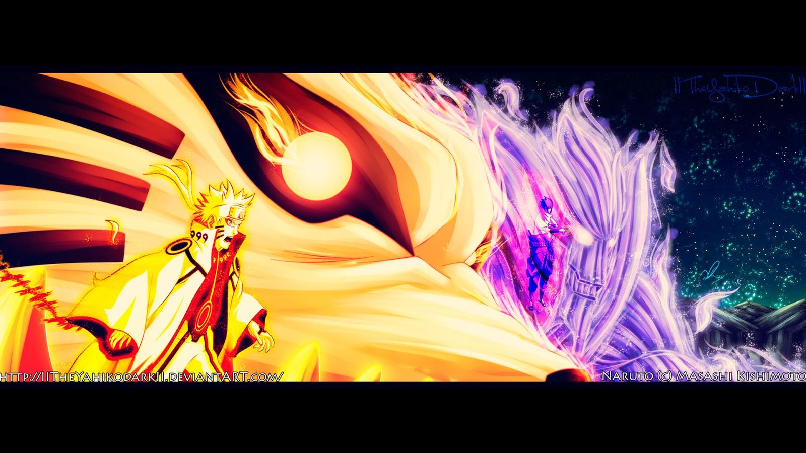 naruto kyuubi sage mode and sasuke susanoo hd anime wallpaper 1600x900