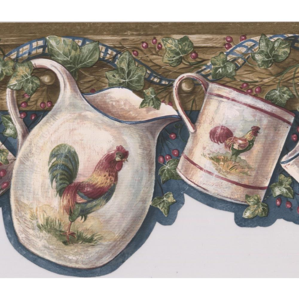 Retro Art White Cup Kettle with Rooster Hanging on Hooks Red 1000x1000