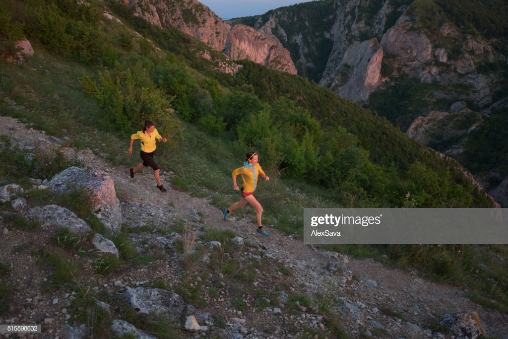 Two Sporty Women Trail Running In Nature With Gorges Landscape In 1024x683