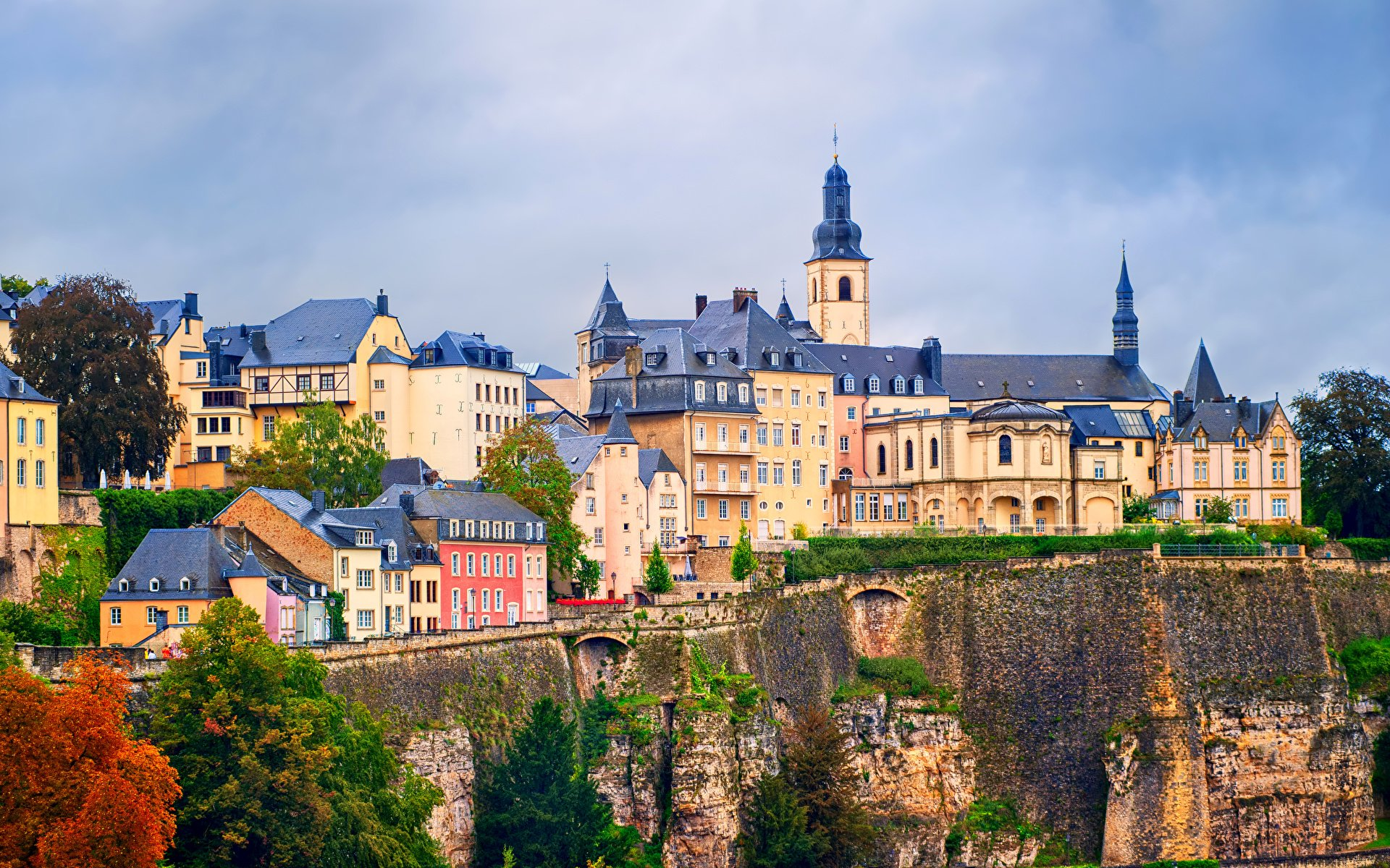 Photo Luxembourg city Rock Street Cities Houses 1920x1200 1920x1200