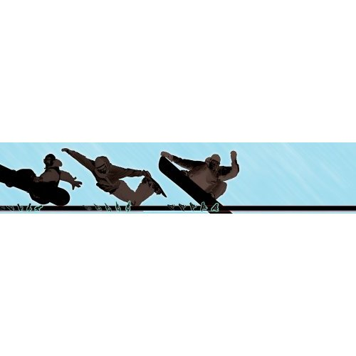 258B75067 9 Inch Wide by 10 Foot Long Snowboarding Wall Border 500x500