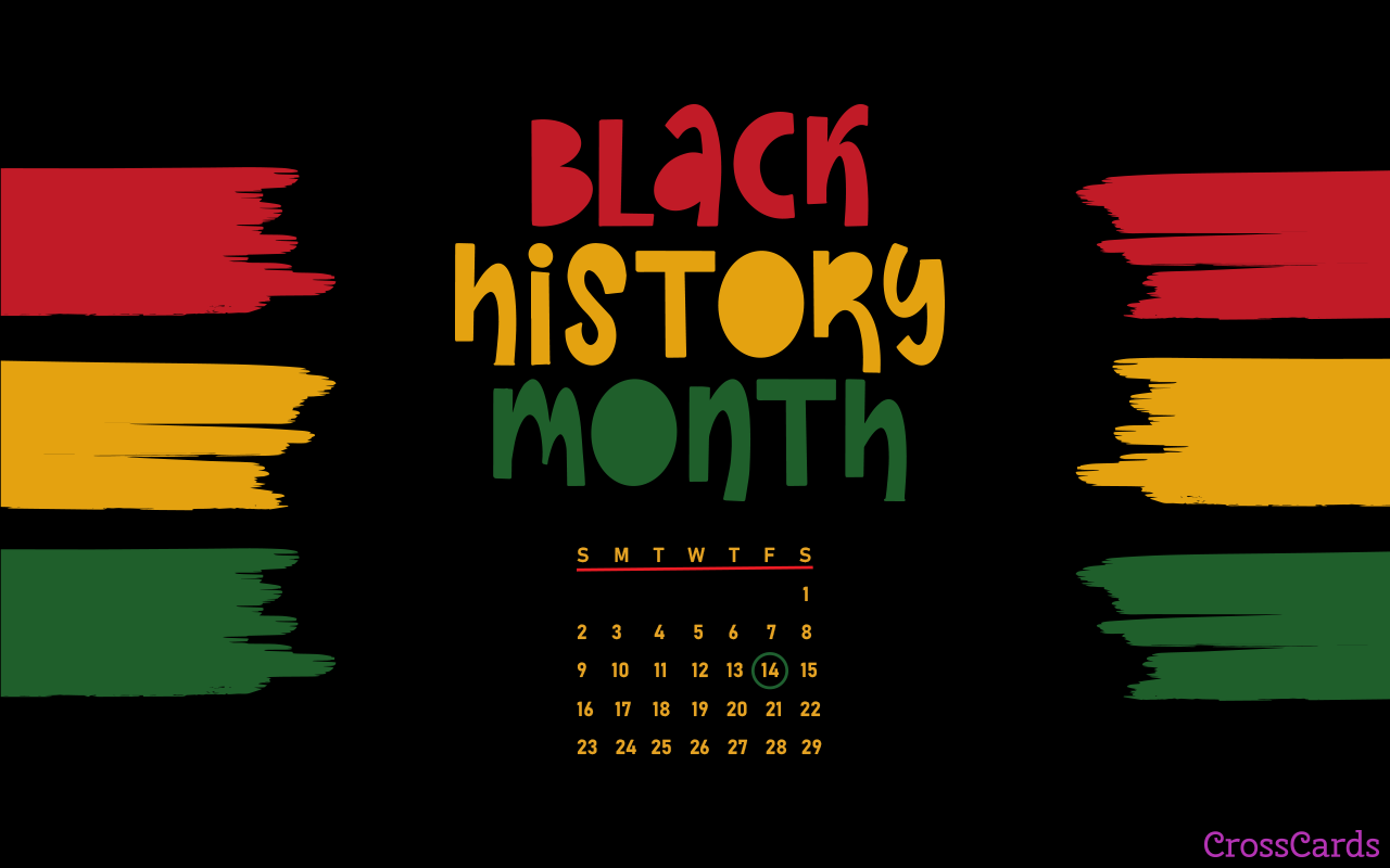 February 2020   Black History Month Desktop Calendar 1280x800