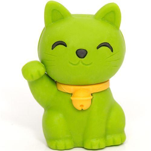 Japanese Good Luck Cat Wallpaper Green lucky cat eraser maneki 500x500
