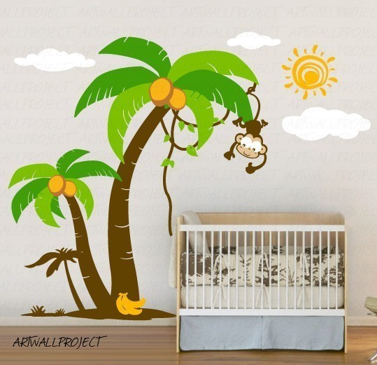 Removable Vinyl Wall Decal Palm Trees with Cute Monkey 539x521