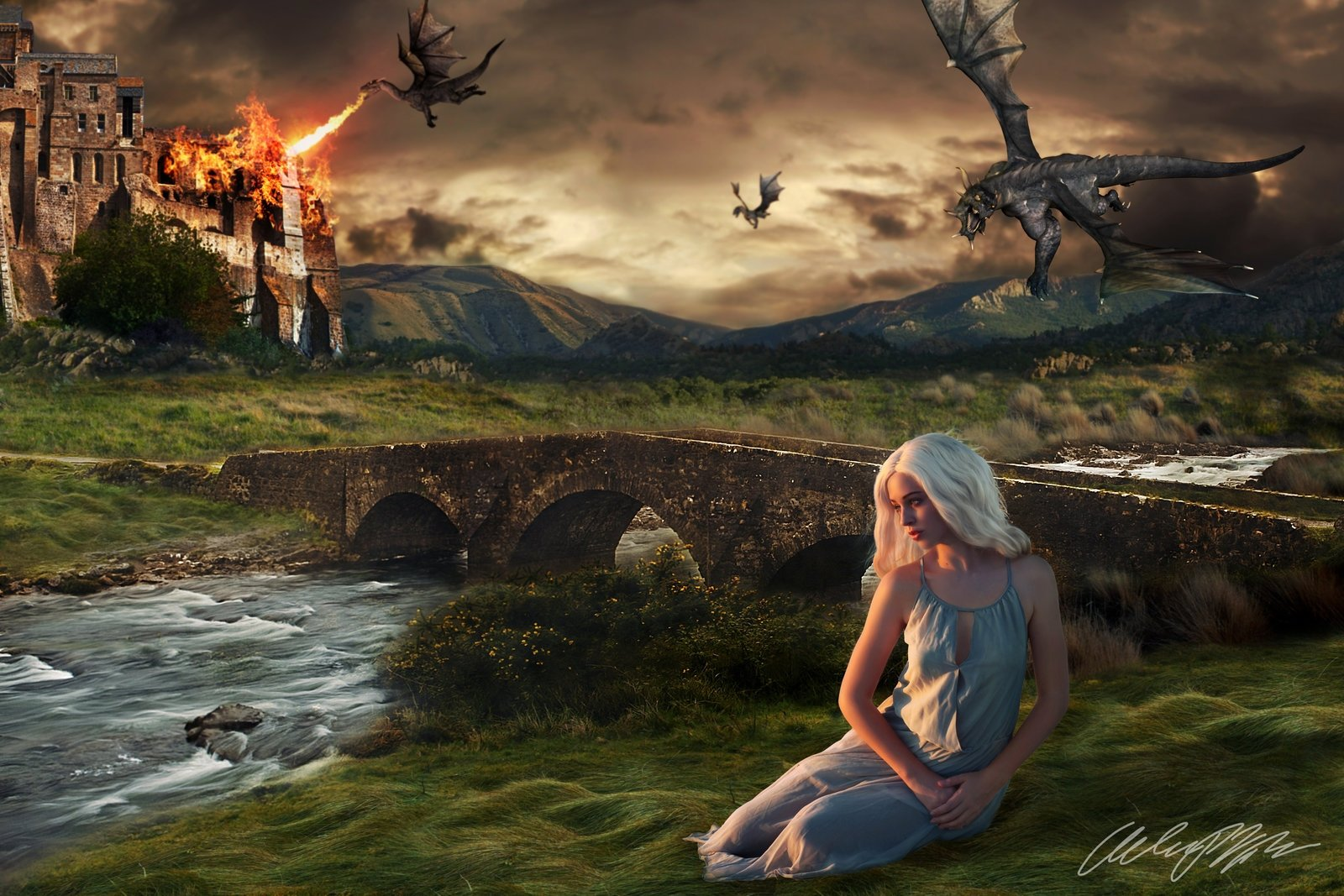 Daenerys and Her Dragons   Game of Thrones Wallpaper 1600x1067 1600x1067