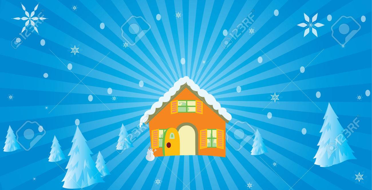 Christmas Background And Hut With Iceman Royalty Cliparts 1300x663