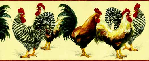 Red Rooster Wallpaper Border KC78066   Wallpaper Border Wallpaper 525x214