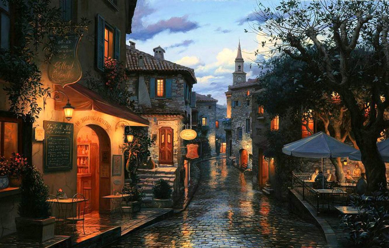 Wallpaper street watch home the evening bar cafe umbrellas 1332x850