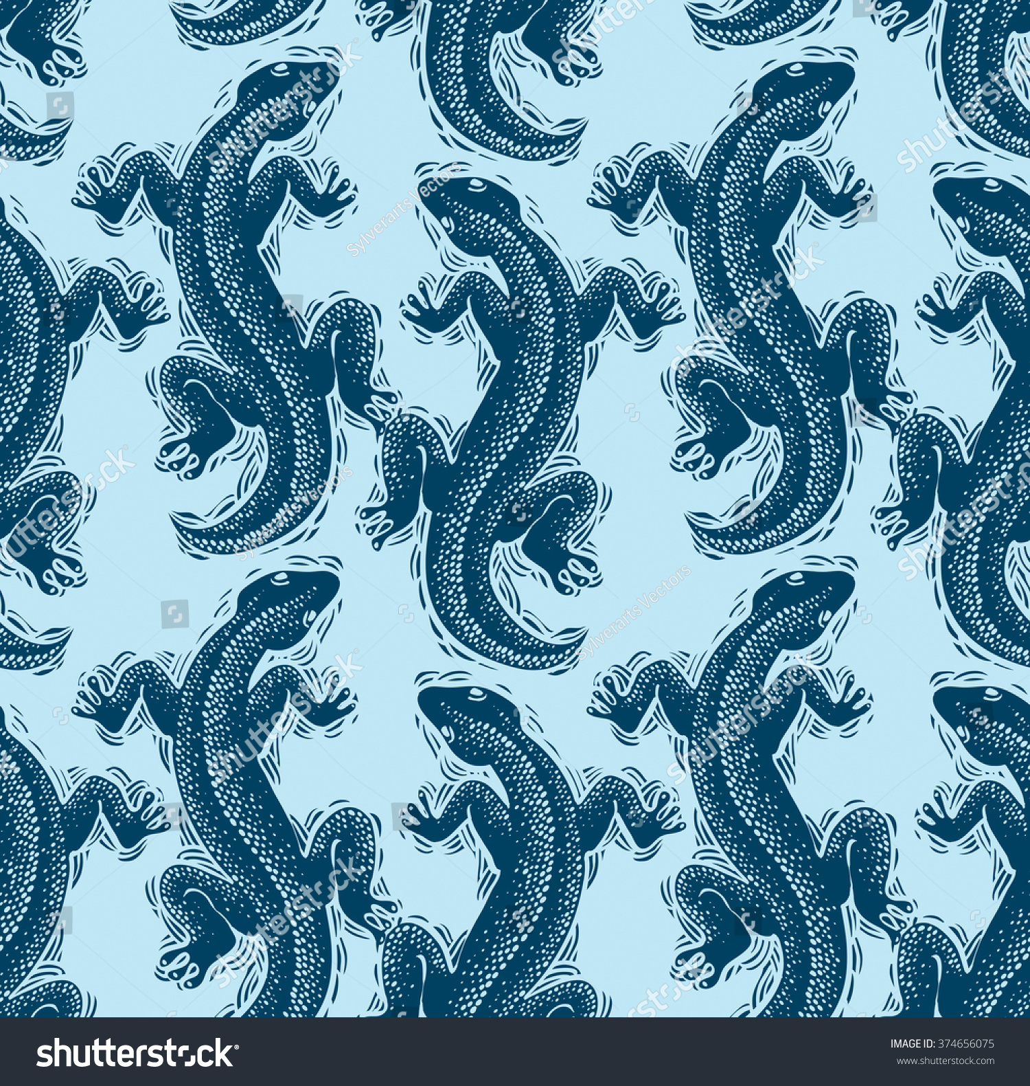 Vector Lizards Wrapping Paper Seamless Pattern Stock Vector 1500x1581