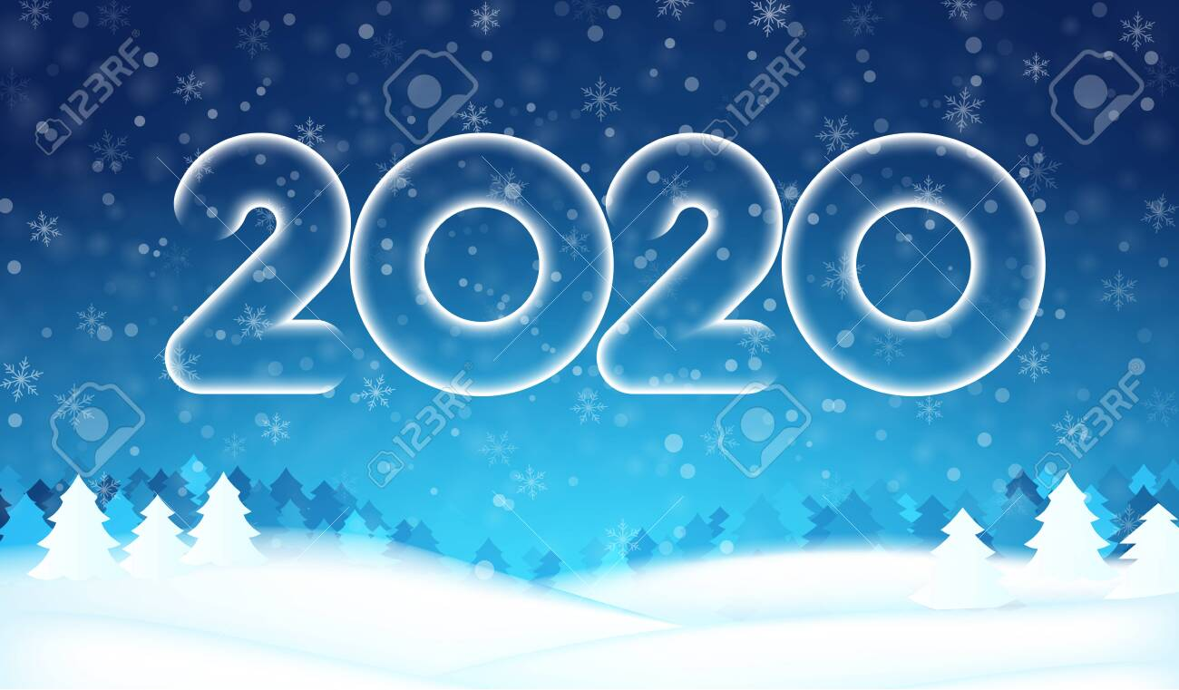 2020 Number Text Happy New Year Banner Winter Abstract Blue 1300x761