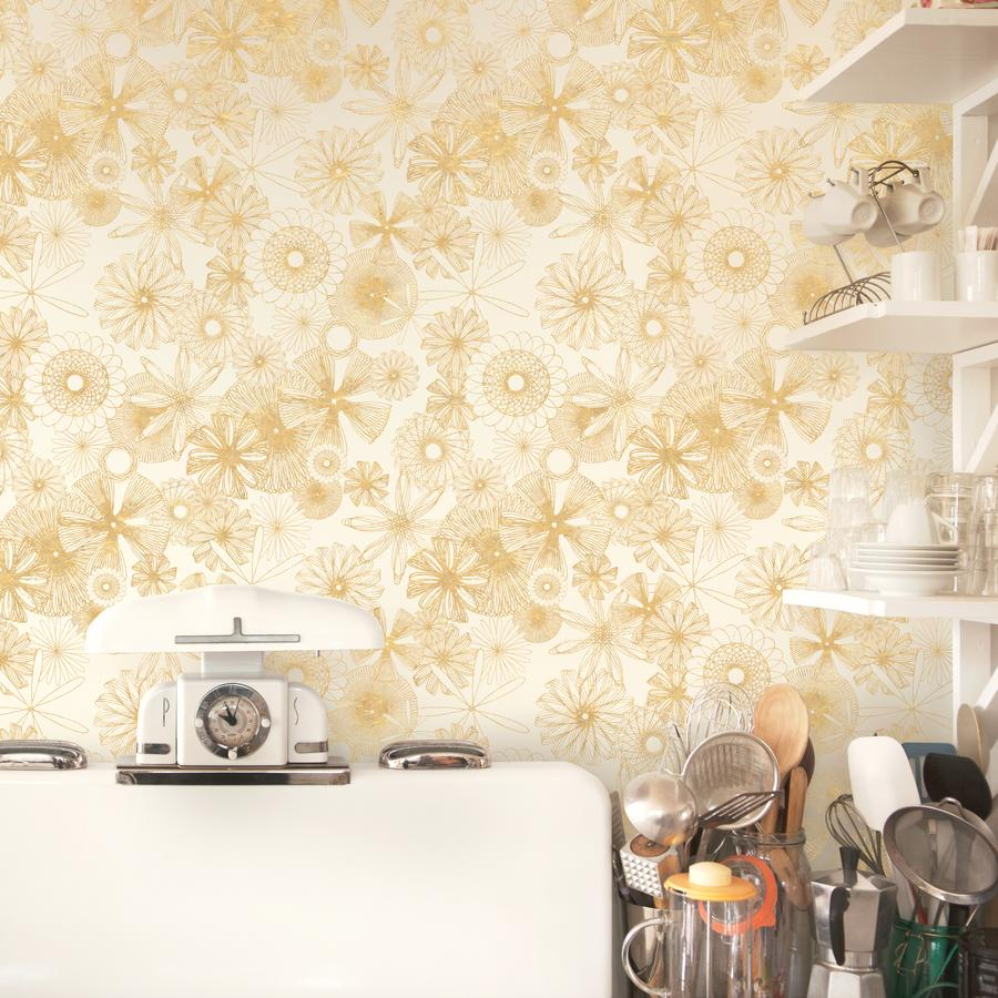 Spiro Trip Wallpaper Metallic Gold on Bone White Manuka Textiles 900x900