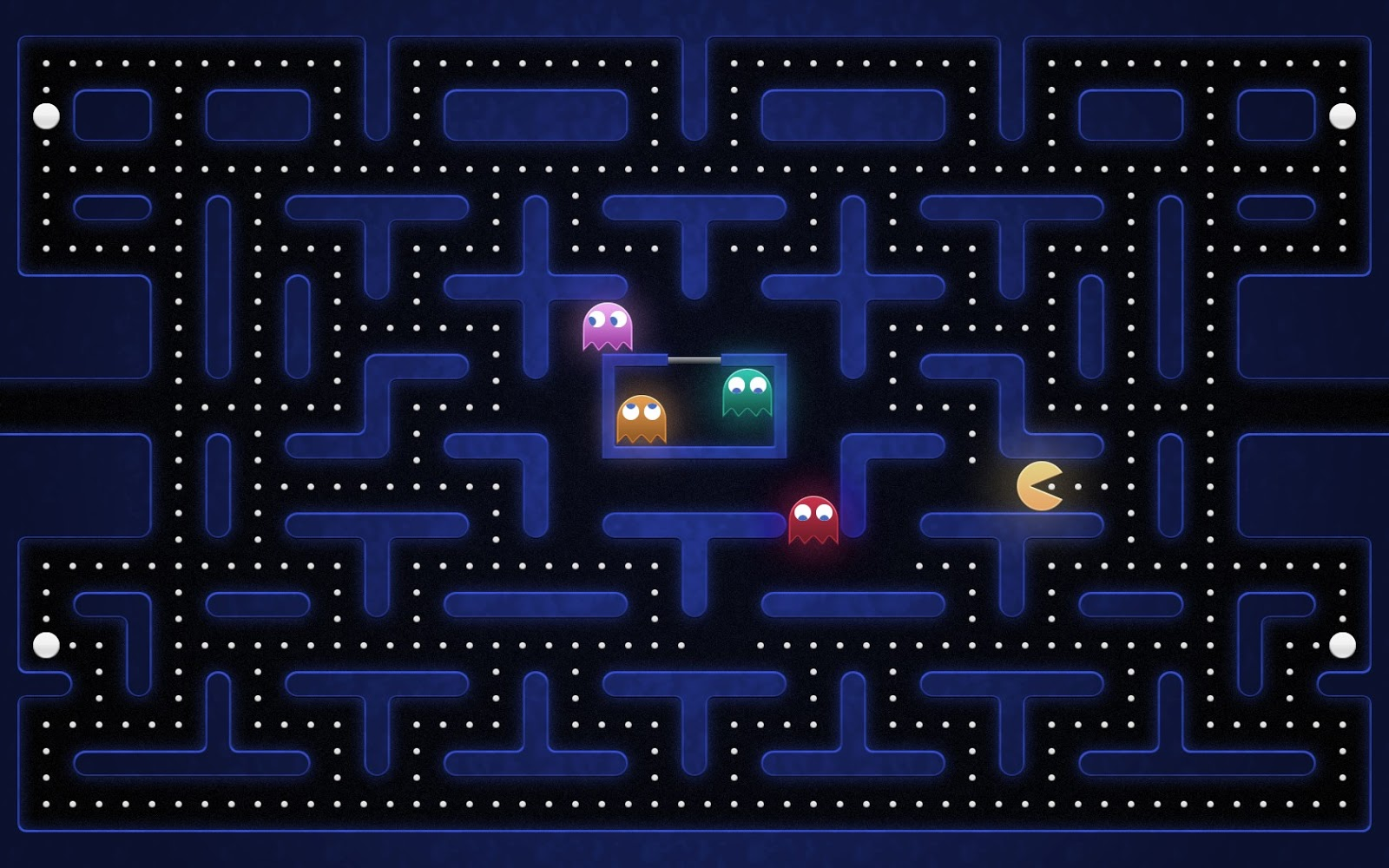 Old school game pacman desktop wallpaper 1600x1000