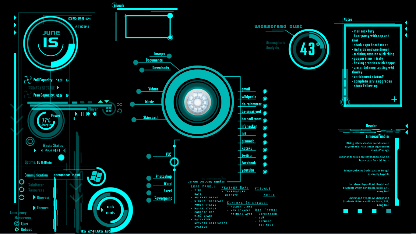 plays JARVIS in all three Iron Man 1366x768