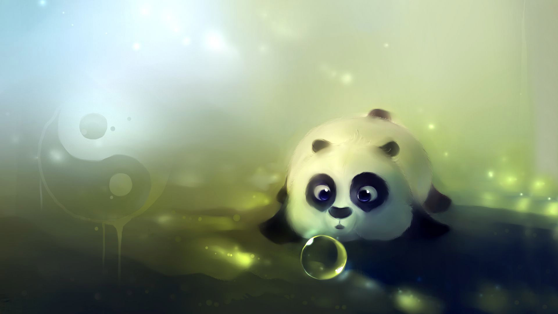 Cute panda playing with bubbles wallpaper   1023833 1920x1080
