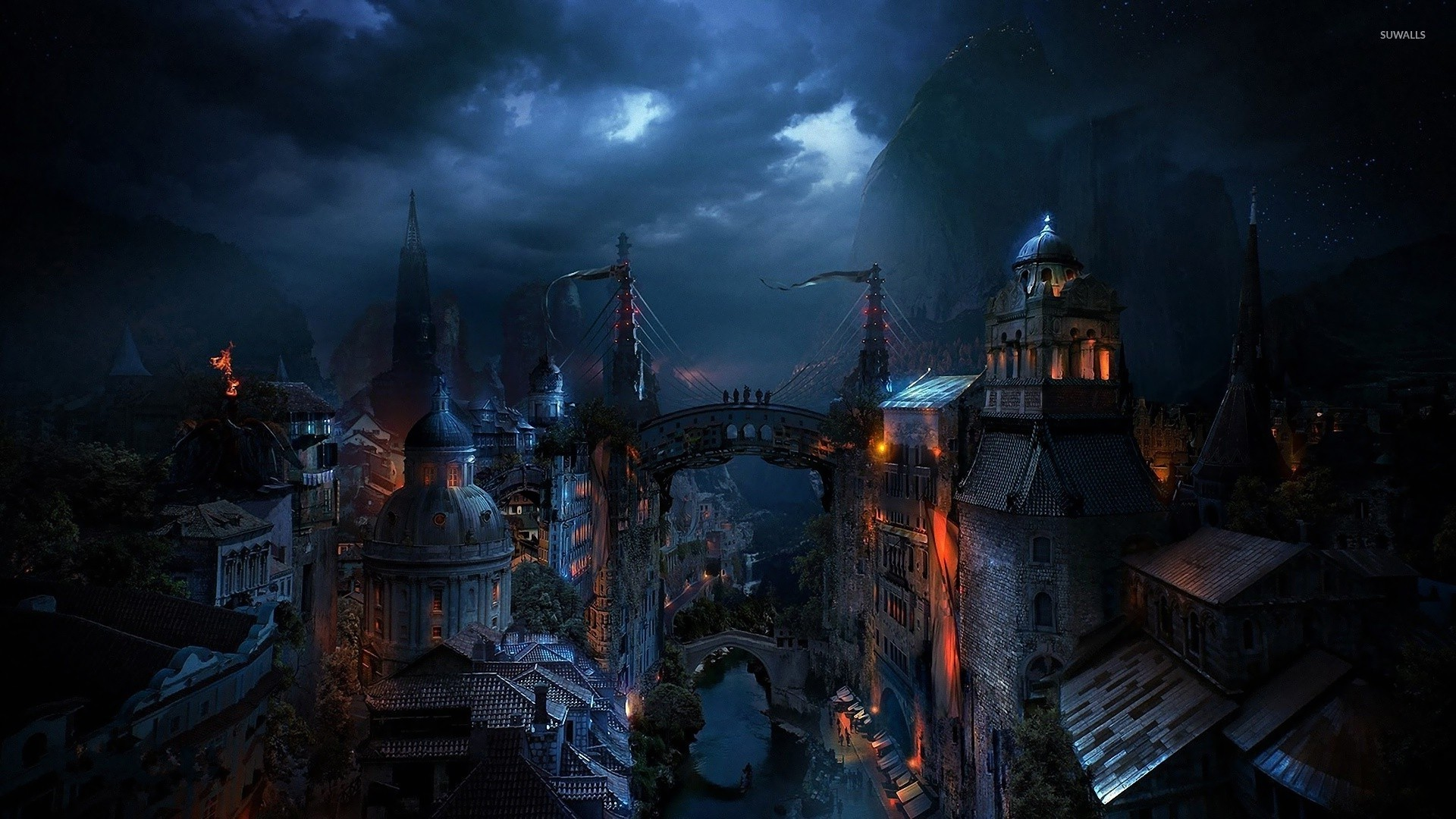 Dark city wallpaper   Fantasy wallpapers   23052 1920x1080