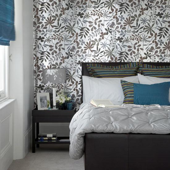 gray grey teal blue combination scheme very stylish cool bedroom decor 550x550