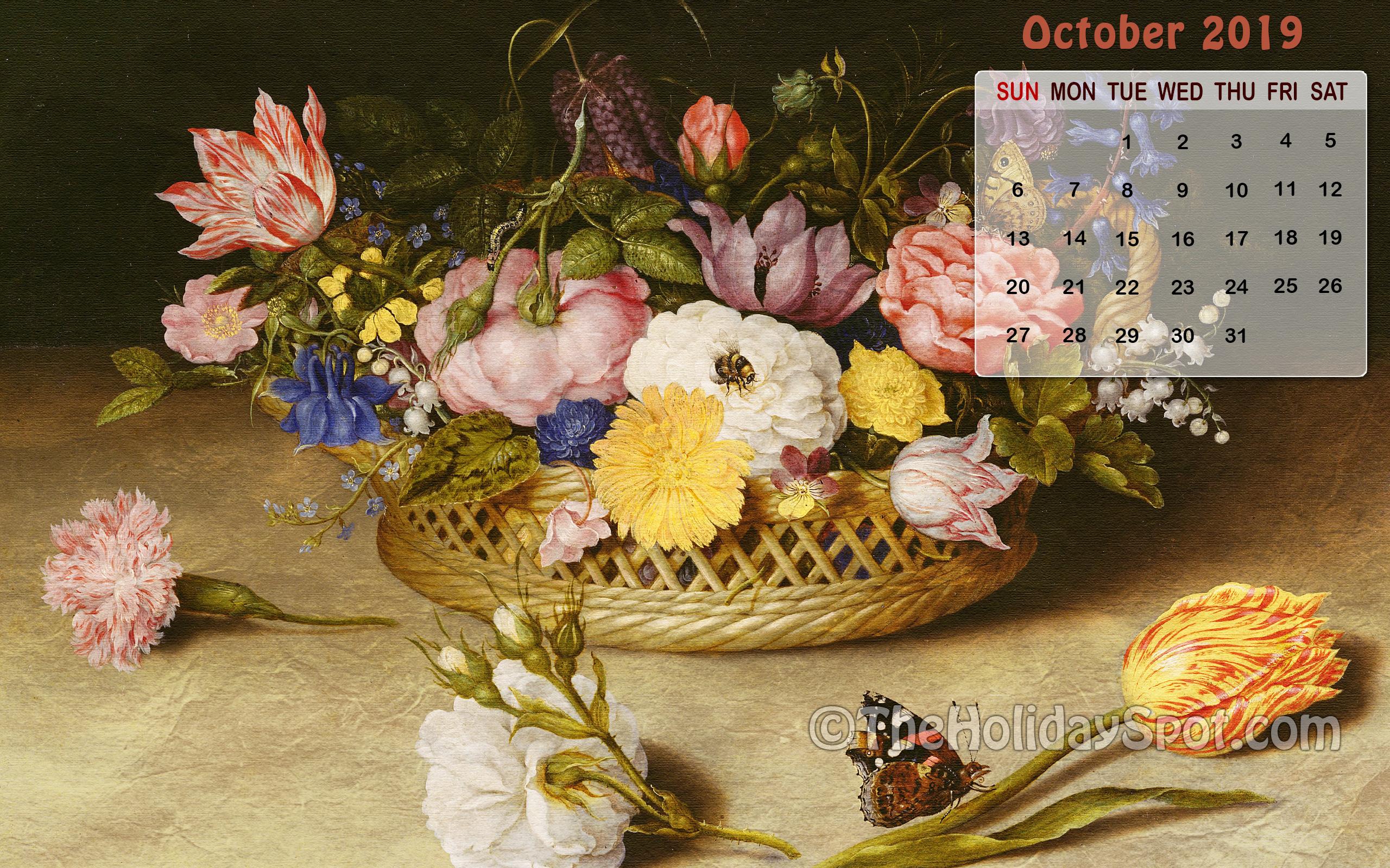 October 2019 Calendar Wallpaper   Wallpapers from TheHolidaySpot 2560x1600