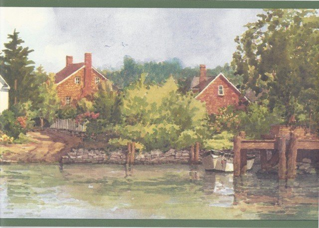 Lake Brick Houses Scenery Wallpaper Border   Traditional   Wallpaper 640x458